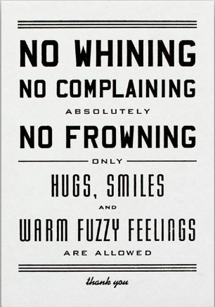 No Whining Letterpress Postcard