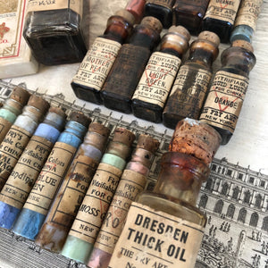 Rare Antique Fry Art Set of Paint Bottles c1900