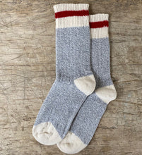 Load image into Gallery viewer, Red Striped Grey Body Cotton Socks Made in Toronto
