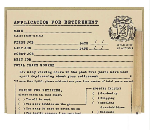Retirement Application Card by Regional Assembly of Text in Vancouver British Columbia