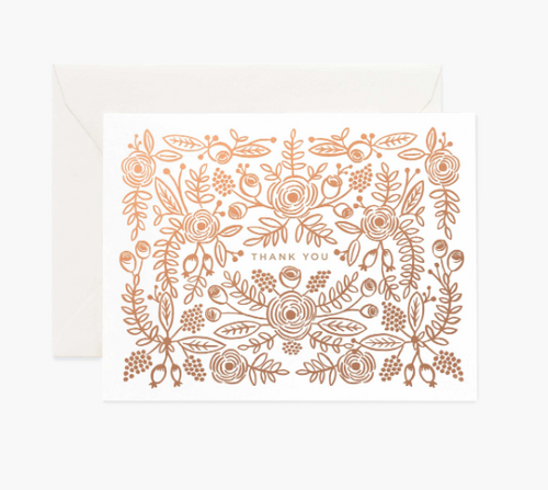 Rose Gold Thank You Card by Rifle Paper