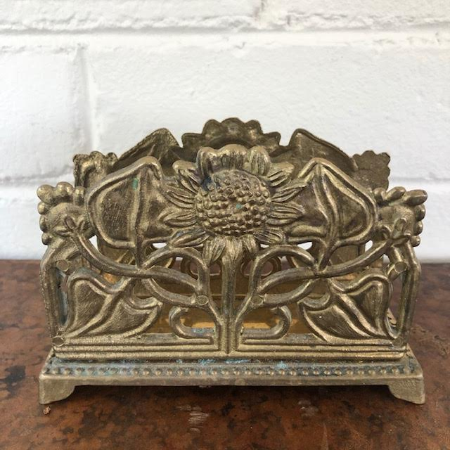 Vintage Brass Sunflower Letter Holder