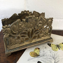 Load image into Gallery viewer, Vintage Brass Sunflower Letter Holder