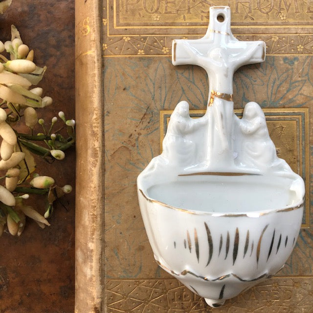 VIntage German Porcelain Holy Water Font c1960