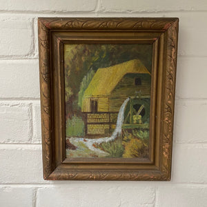 Vintage Oil on Board of Mill c1920 Unsigned