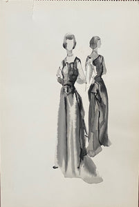 Mid-Century Vogue Fashion Sketch