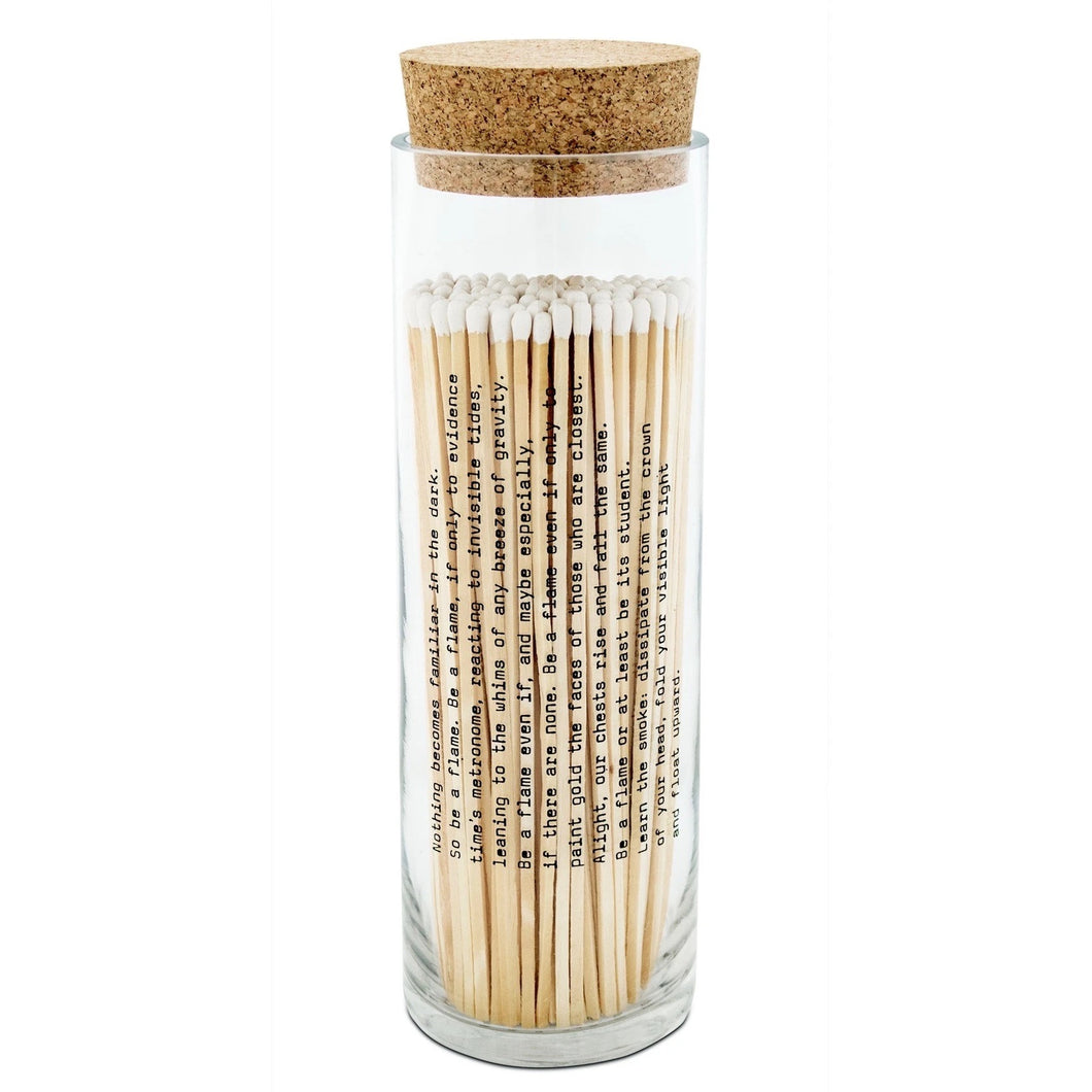 White Poetry Fireplace Matches in Bottle with Cork Lid by Skeem Design