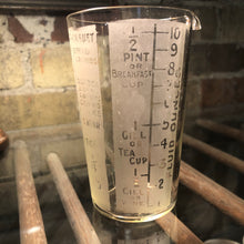 "Load image into Gallery viewer, Antique English Etched Measuring Glass 4.5""h"