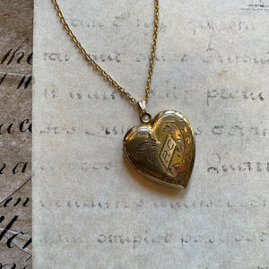 Antique Gold Plated Heart Locket and Chain - RC
