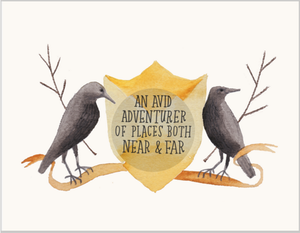 Adventurous Crows Button Greeting Card