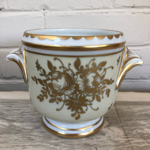 Vintage French Gilt Hand Painted Porcelain Cachepot c1920