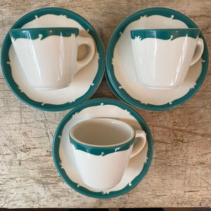 Vintage Restaurant Green and White Coffee Cup and Saucer c1950