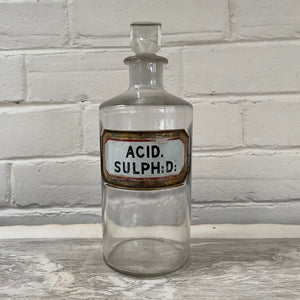 Antique Apothecary Bottle with Stopper -  Acid Sulph
