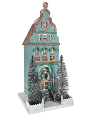 Cody Foster Papier Mache Mint Townhouse Christmas Decor