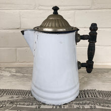 Load image into Gallery viewer, Vintage French White Enamel Coffee Pot with Wooden Handle