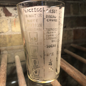 "Antique English Etched Measuring Glass 4.5""h"