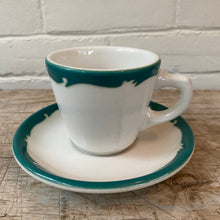 Load image into Gallery viewer, Vintage Restaurant Green and White Coffee Cup and Saucer c1950