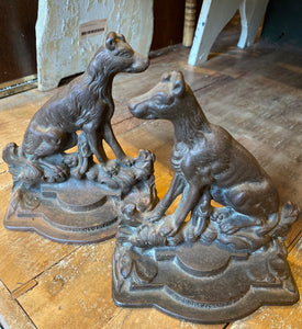 Antique Cast Iron Bookends Signed Hahn Hunting Dogs A Sportsman's Friend