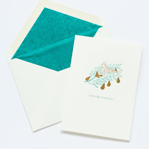 A Partridge in a Pear Tree Letterpress Christmas Card by Meticulous Ink in Bath England