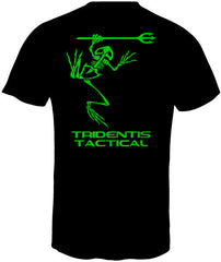 Tridentis Tactical Black Men's T-Shirt Neon Green Logo and Lettering