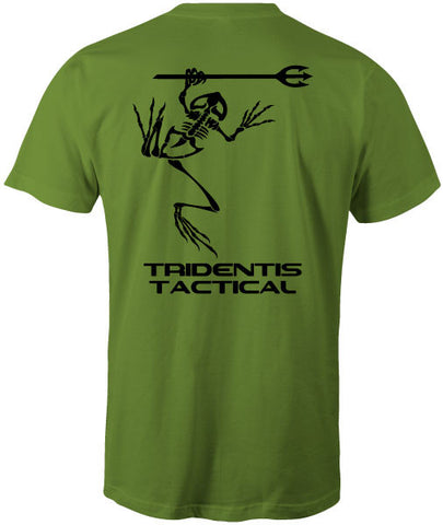 Tridentis Tactical Kiwi Green Men's T-Shirt Black Logo and Lettering