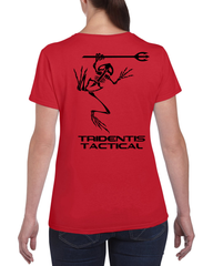 Tridentis Tactical Hunter Red Women's T-Shirt Black Logo and Lettering