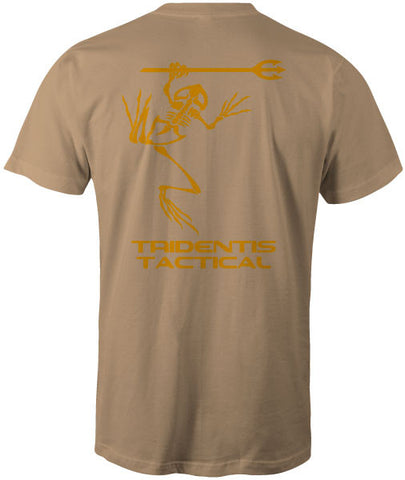 Tridentis Tactical Tan Men's T-Shirt Old Gold Logo and Lettering