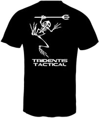 Tridentis Tactical Black Men's T-Shirt White Logo and Lettering