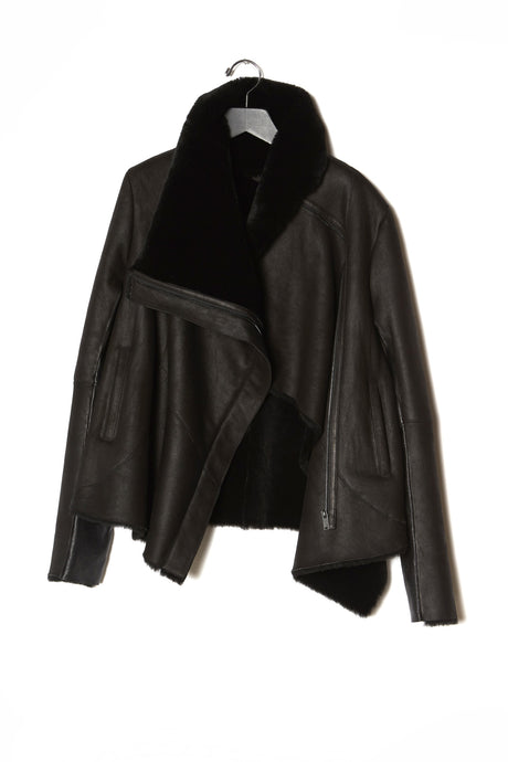 Anne Vest Cropped Leather Jacket with Straight Shearling