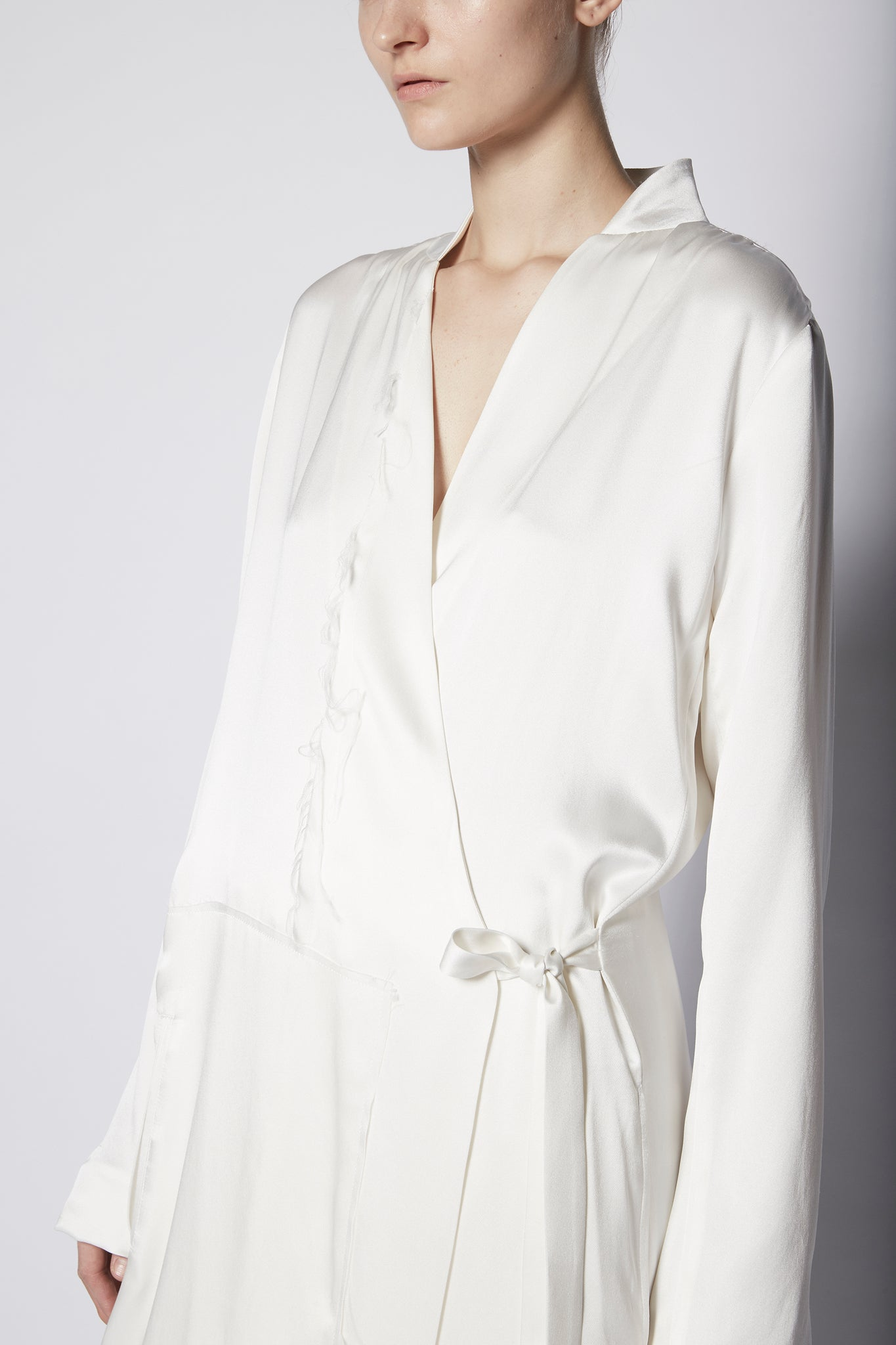 Wrap Asymmetric Silk Coat