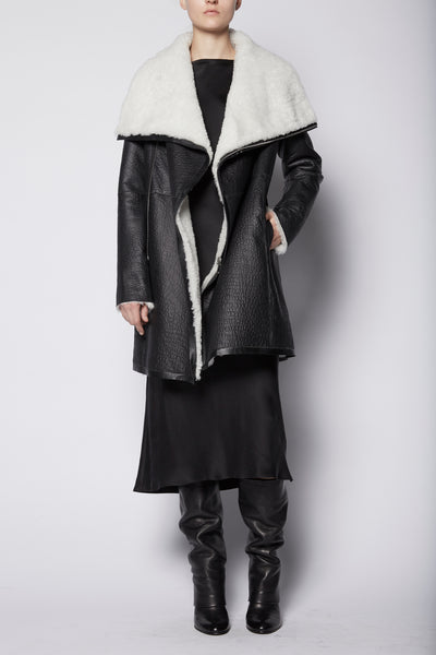 Anne Vest Textured Leather Coat