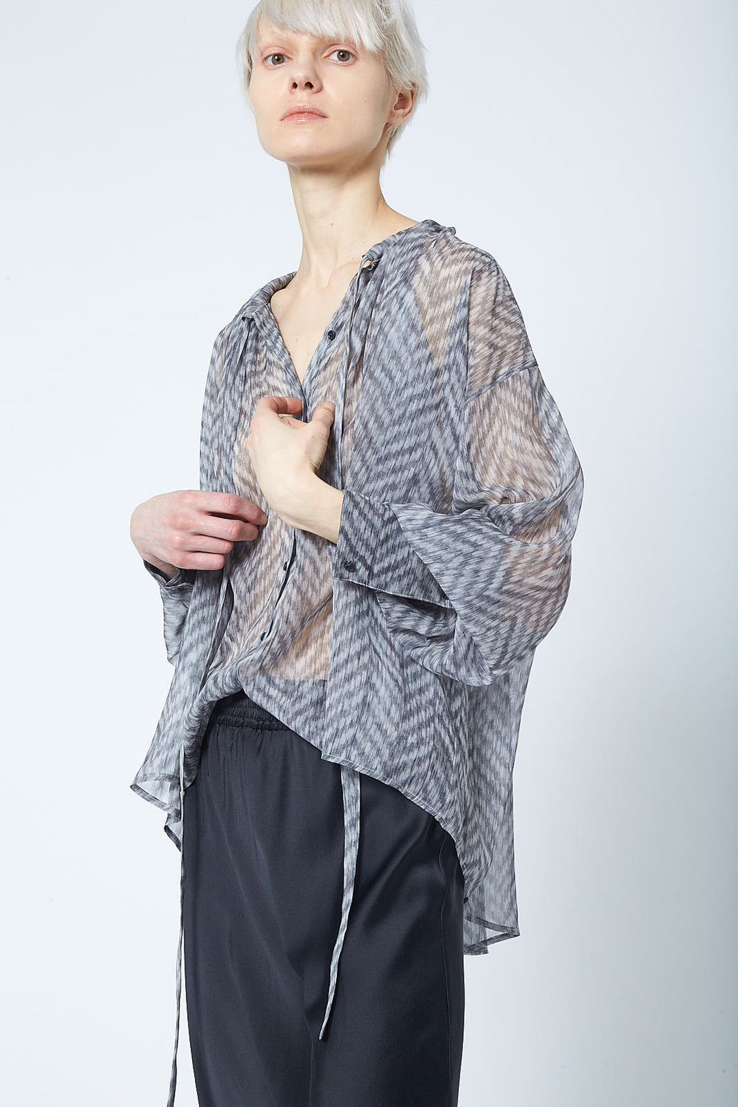 Elongated Chiffon Printed Monk