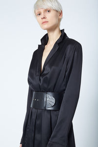 The Abbey Satin Coat Dress