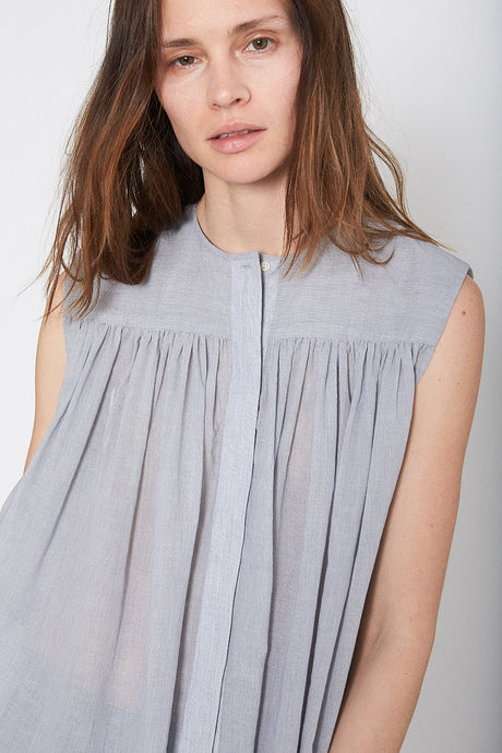 KES Ruched Sleeveless Blouse - Striped Cotton Voile