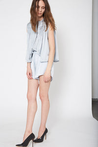 KES Ruched Sleeveless Blouse  - Sky