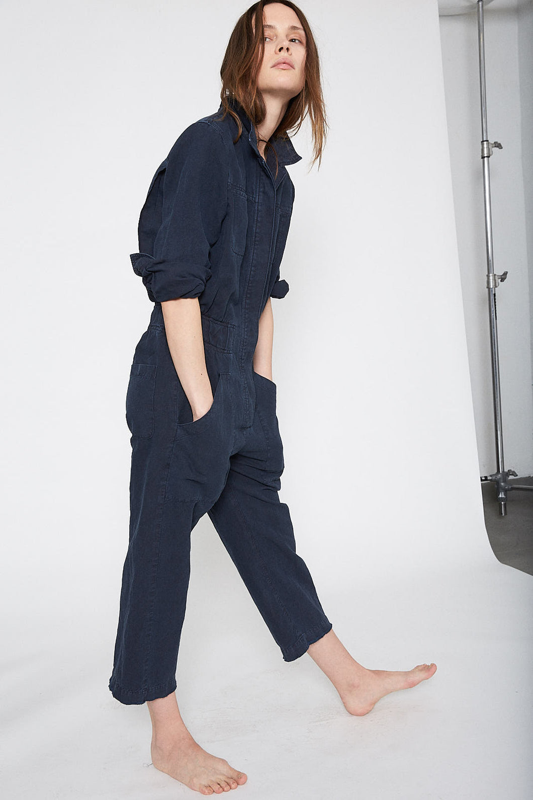 KES Merci Twill Jumpsuit - Stone Washed