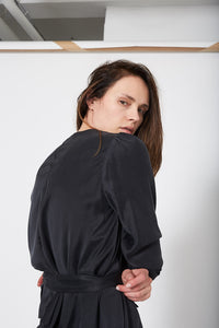 KES V Wrap Long Sleeve - Silk Charmeuse
