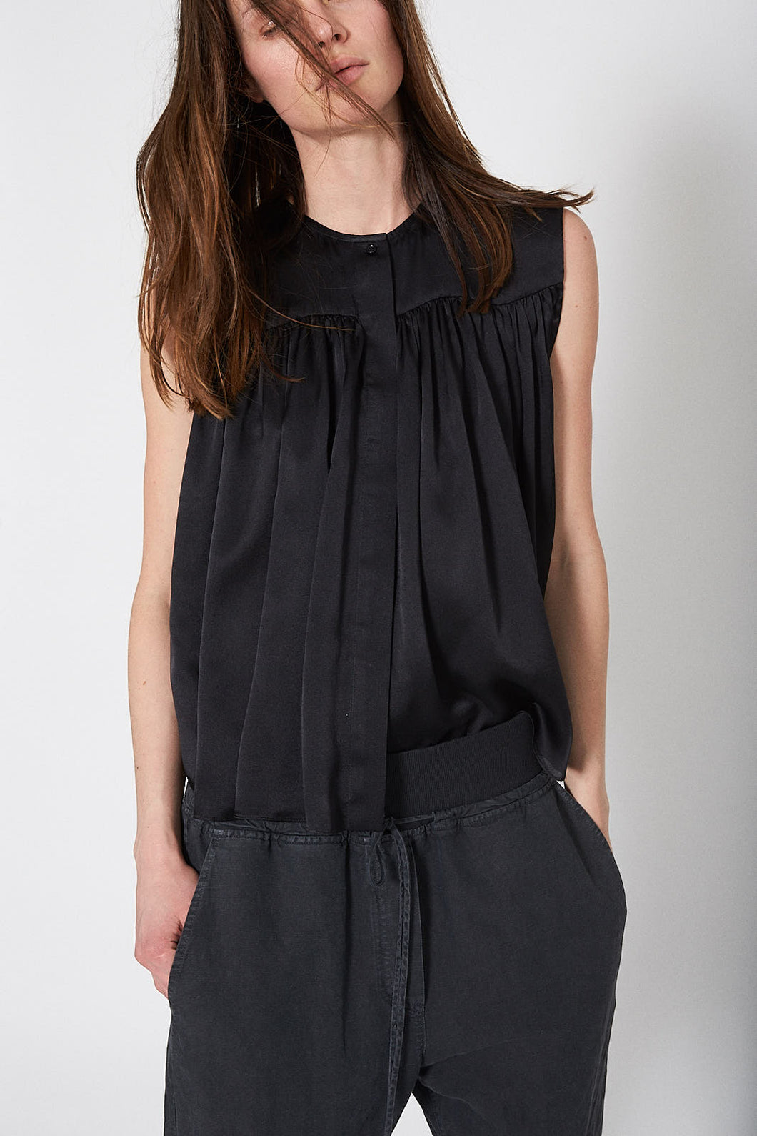 KES Ruched Sleeveless Blouse  - Black