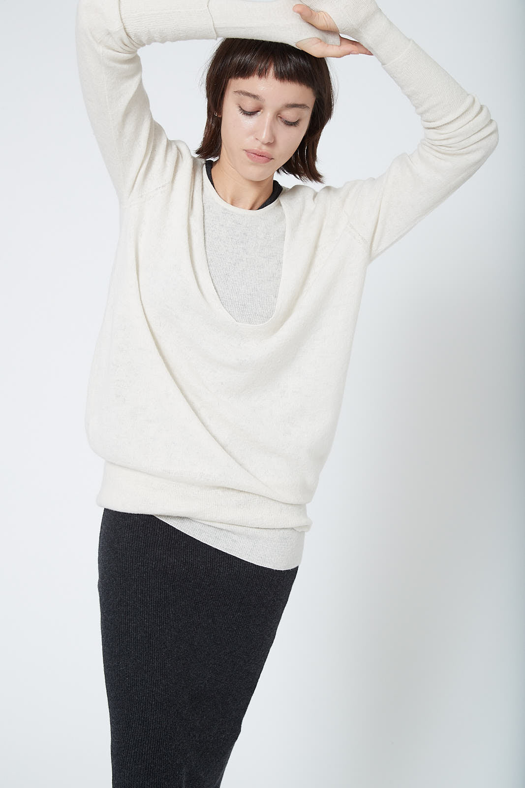 KES Reversible Deep V Neck Tunic Sweater
