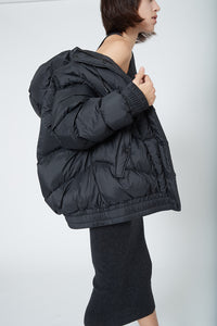 Ahirain Hoodie Bomber Ripstop Nylon with Goose Down