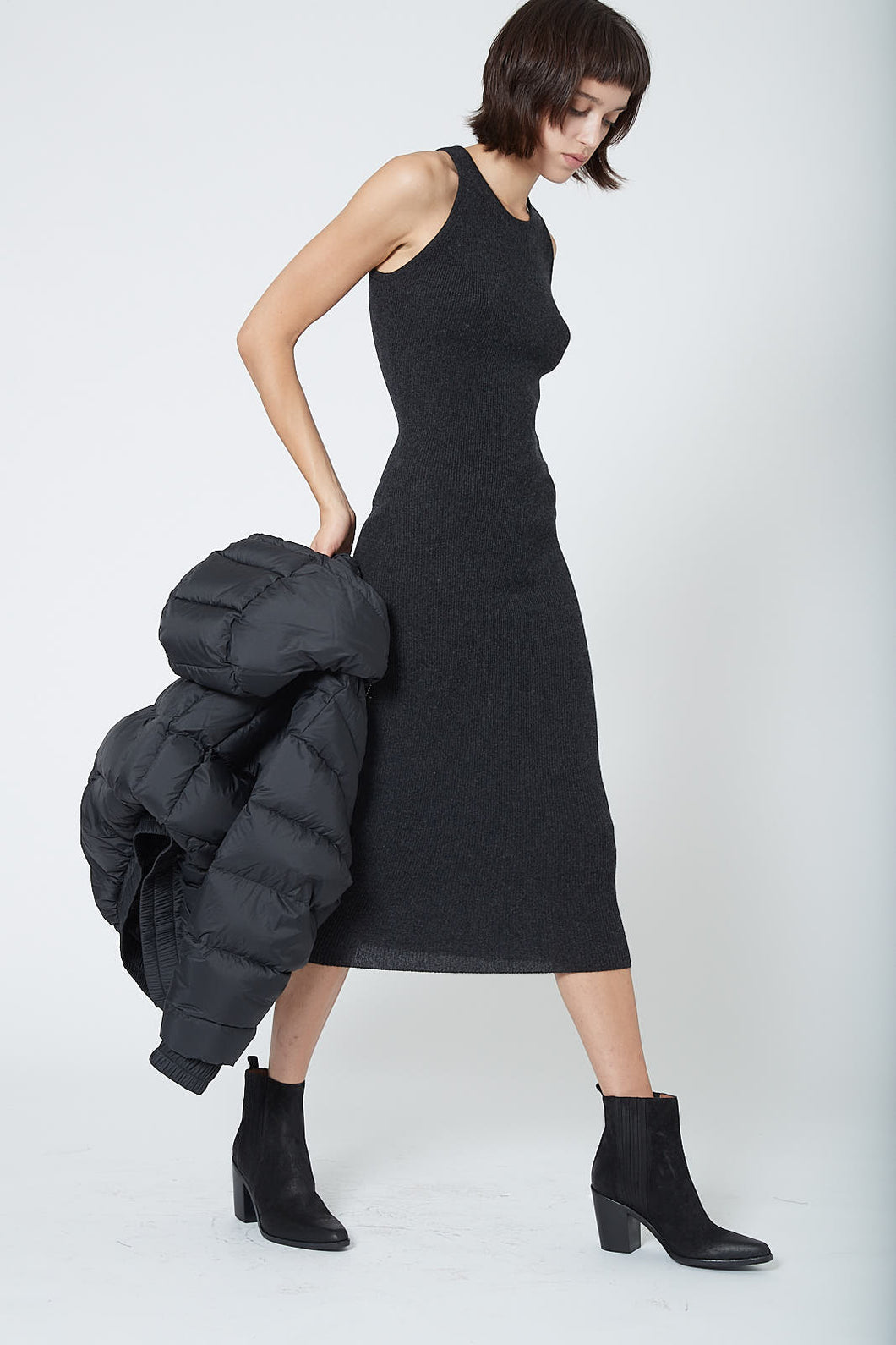 KES Cashmere Halter Dress FW19- Charcoal