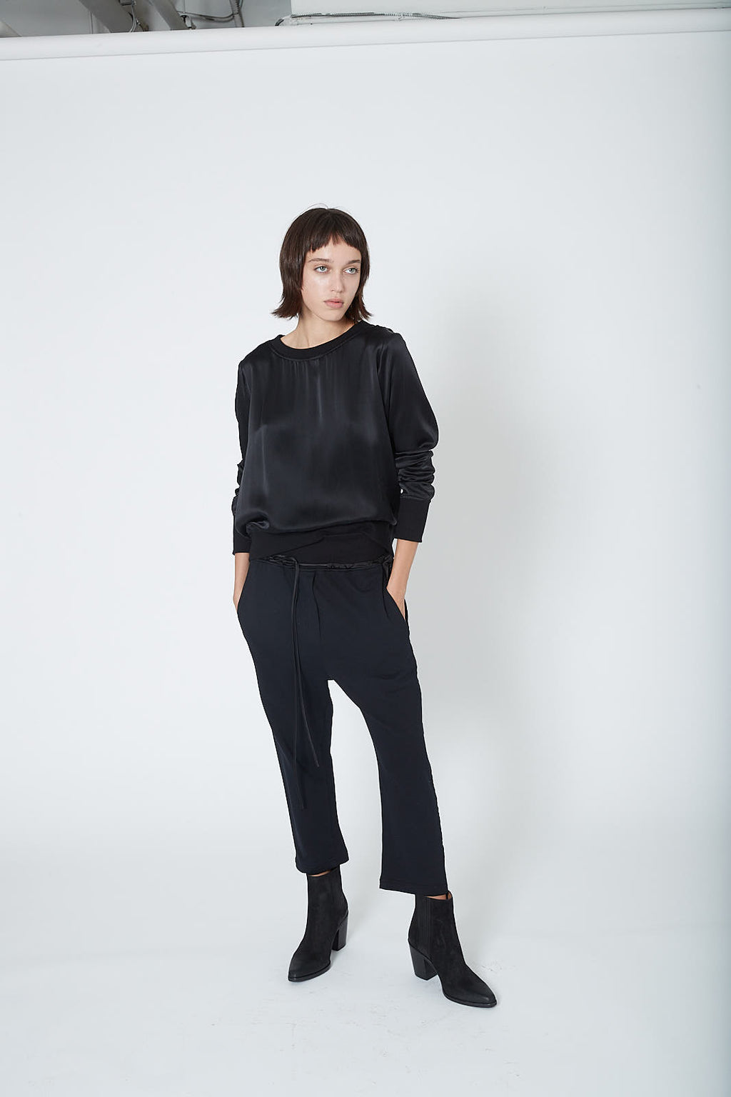 KES Drop Crotch Pants w/ Rib (Terry) - Black