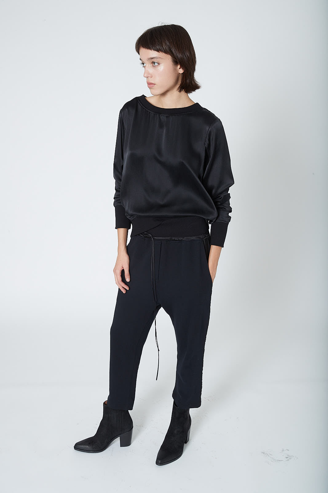 KES Drop Crotch Pants w/ Rib - Black Terry SS20