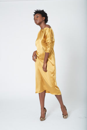 KES Zora Asymmetric Dress FW19 - Ochre