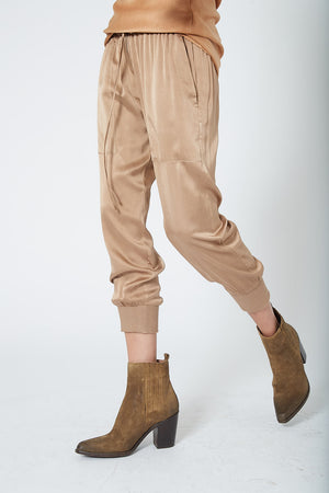 KES Patched Pocket Silk Joggers - Mud