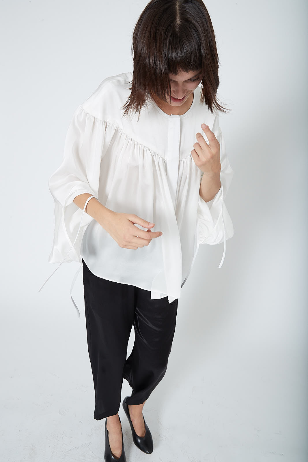 KES Ruched Peasant Blouse FW19 - Natural