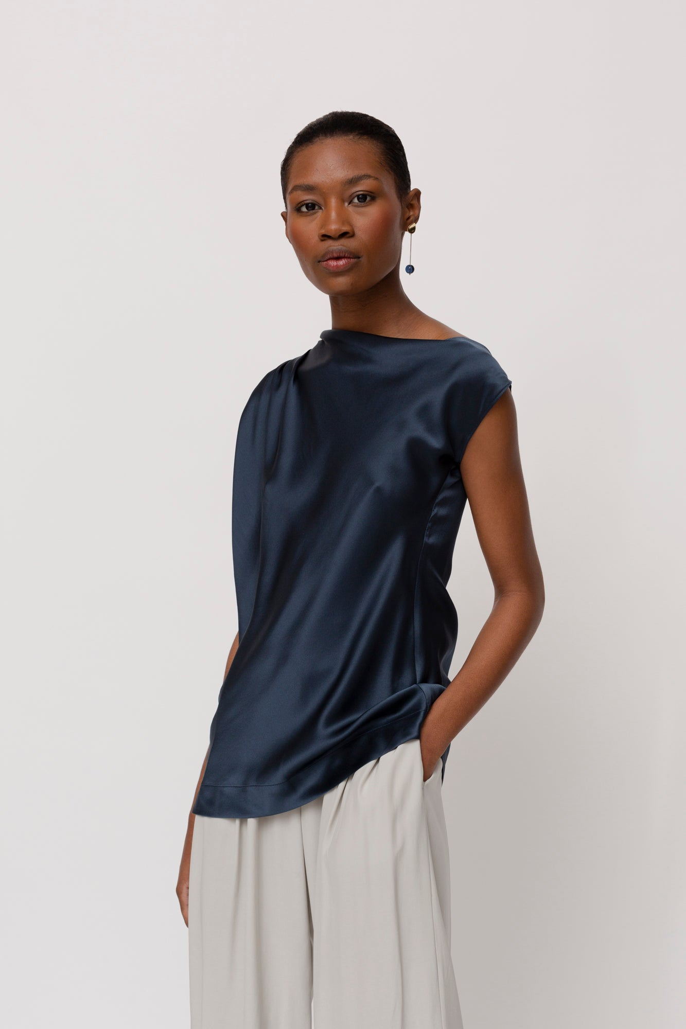 KES Sleeveless Zora Asymmetric Top- Full Moon