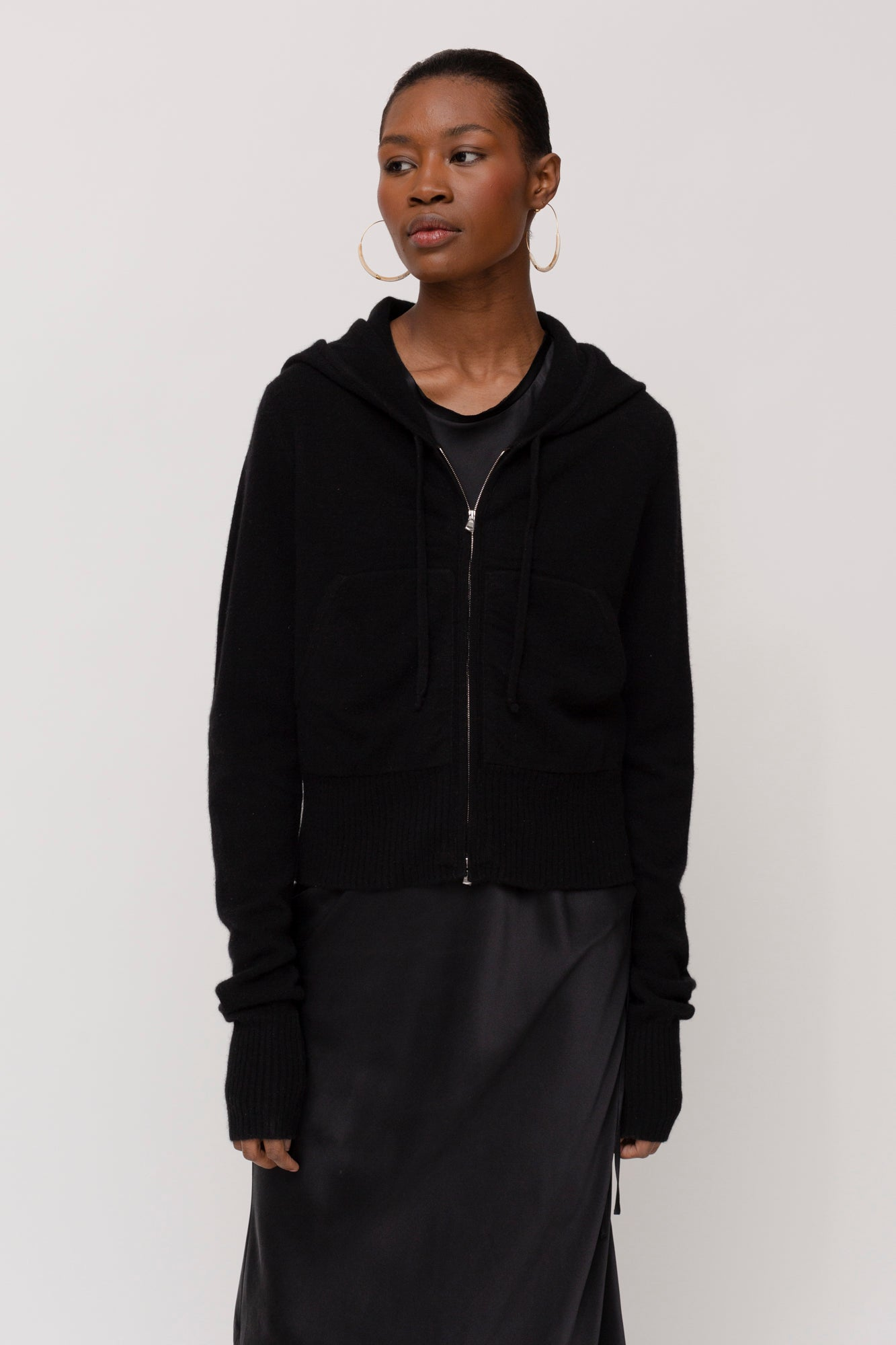 KES Felted Cashmere Hoodie - Black, Midnight
