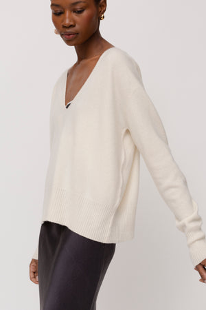 KES Felted V Neck Cashmere Sweater- Solids
