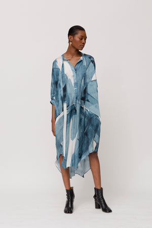 KES Megan Dance Dress SS20- Indigo Movement Print